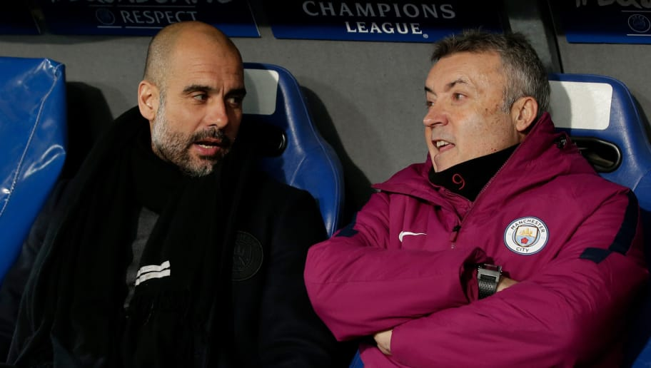 BASEL, SWITZERLAND - FEBRUARY 13: (L-R) coach Josep Guardiola of Manchester City, Domenec Torrent of Manchester City during the UEFA Champions League  match between Fc Basel v Manchester City at the St. Jakob-Park on February 13, 2018 in Basel Switzerland (Photo by Laurens Lindhout/Soccrates/Getty Images)