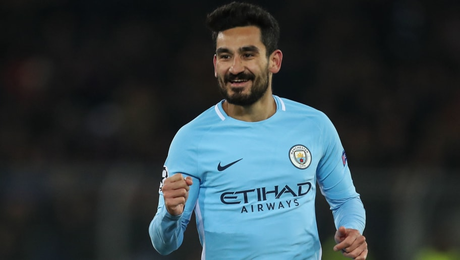 BASEL, SWITZERLAND - FEBRUARY 13: Ilkay Gundogan of Manchester City celebrates after scoring a goal to make it 0-4 during the UEFA Champions League Round of 16 First Leg  match between FC Basel and Manchester City at St. Jakob-Park on February 13, 2018 in Basel, Switzerland. (Photo by Robbie Jay Barratt - AMA/Getty Images)