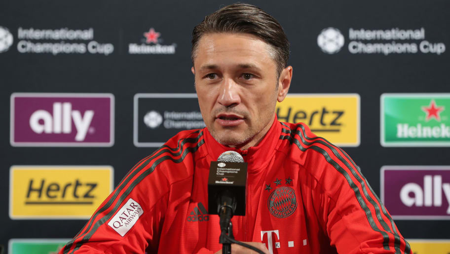 PHILADELPHIA, PA - JULY 24:  Team coach Niko Kovac of FC Bayern Muenchen answers to journalists' questions during a news conference at the Lincoln Financial Field American football stadium on the second day of the FC Bayern AUDI Summer tour 2018 on July 24, 2018 in Philadelphia, Pennsylvania.  (Photo by Alexandra Beier/Bongarts/Getty Images)