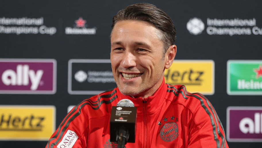 PHILADELPHIA, PA - JULY 24:  Team coach Niko Kovac of FC Bayern Muenchen smiles during a news conference at the Lincoln Financial Field American football stadium on the second day of the FC Bayern AUDI Summer tour 2018 on July 24, 2018 in Philadelphia, Pennsylvania.  (Photo by Alexandra Beier/Bongarts/Getty Images)