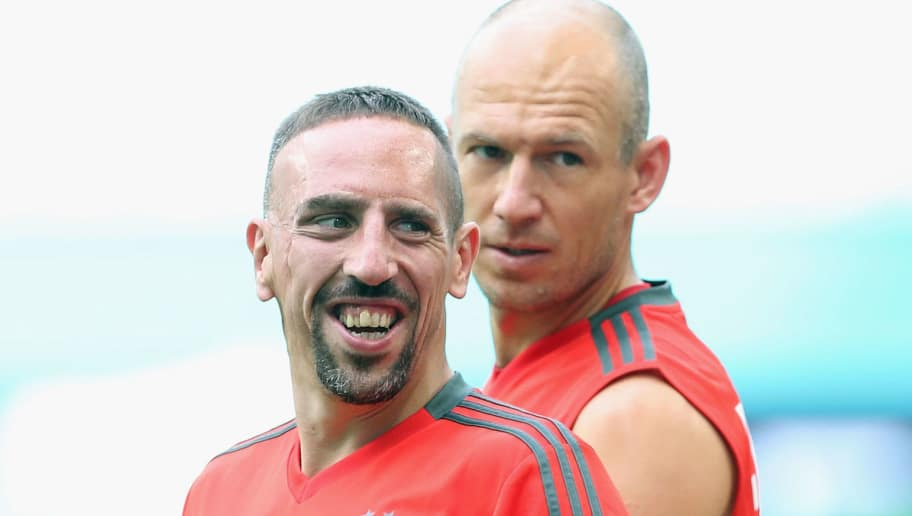 MIAMI, FL - JULY 27:  Franck Ribery (L) and Arjen Robben of FC Bayern Muenchen practice during a training session ahead of the team's friendly match aganst Manchester City on Saturday during the FC Bayern AUDI Summer Tour on July 27, 2018 at Hard Rock Stadium in Miami, Florida.  (Photo by Alexandra Beier/Bongarts/Getty Images)