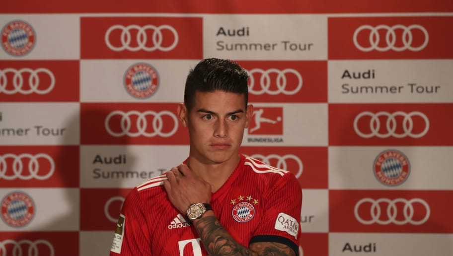 MIAMI, FL - JULY 28:  James Rodriguez of FC Bayern Muenchen addresses a press conference during the FC Bayern AUDI Summer Tour on July 27, 2018 at Mandarin Oriental hotel in Miami, Florida.  (Photo by Alexandra Beier/Bongarts/Getty Images)