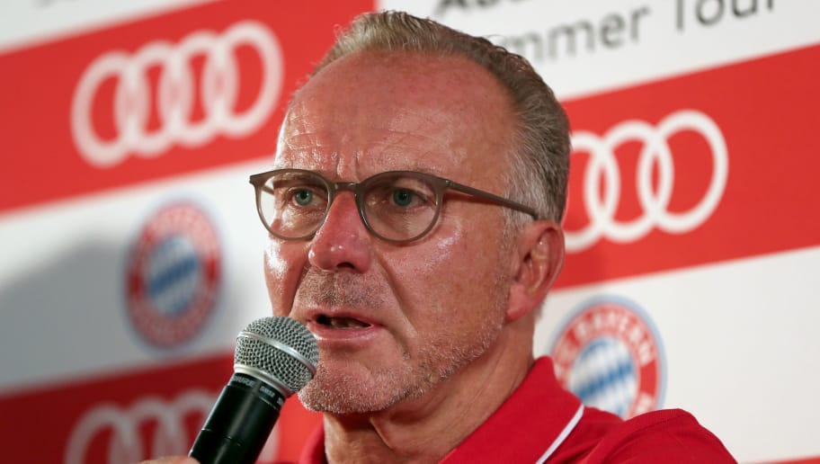 MIAMI, FL - JULY 29:  Karl-Heinz Rummenigge, CEO of FC Bayern Muenchen, addresses a news conference during the last day of the FC Bayern AUDI Summer Tour on July 29, 2018 at Mandarin Oriental hotel in Miami, Florida.  (Photo by Alexandra Beier/Bongarts/Getty Images)