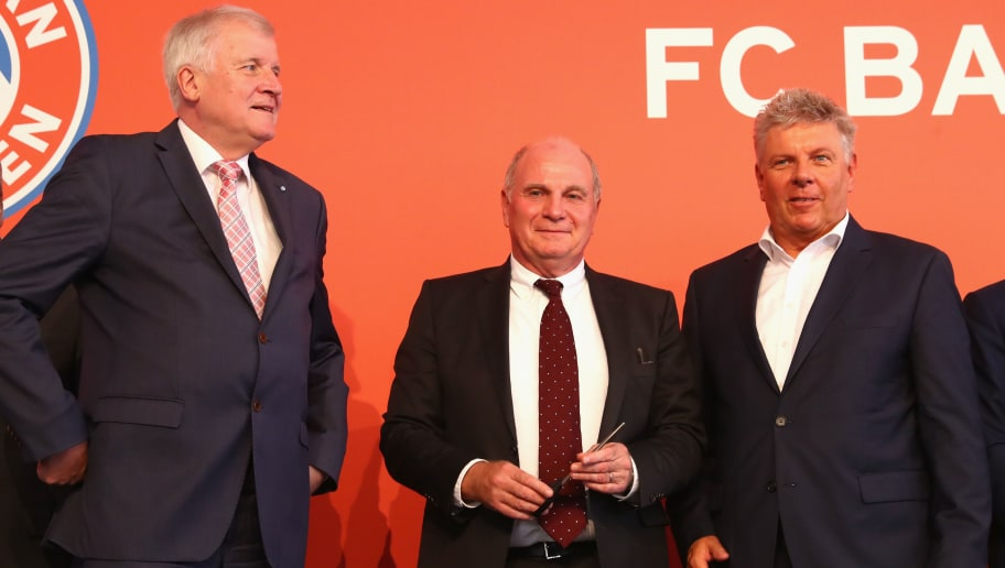 MUNICH, GERMANY - AUGUST 21:  (L-R)  Horst Seehofer, Bavarian Governor attends with Uli Hoeness, President of FC Bayern Muenchen and Dieter Reiter, Lord Major of Muenchen the pening ceremony of the FC Bayern Campus  at FC Bayern Campus on August 21, 2017 in Munich, Germany.  (Photo by Alexander Hassenstein/Bongarts/Getty Images)