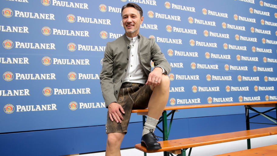 MUNICH, GERMANY - SEPTEMBER 02:  Niko Kovac, head coach of FC Bayern Muenchen smiles during the FC Bayern Muenchen and Paulaner Photo Session at FGV Schmidtle Studios on September 2, 2018 in Munich, Germany.  The traditional photo shoot featuring FC Bayern Muenchen for the Paulaner brewery who have been a platinum partner with Bayern Muenchen since 2003. Giving some of the stars from Germany's record-breaking football team and their trainer Niko Kovac the opportunity to get in touch with some Bavarian culture by dressing for the shoot in Lederhosen the traditional attire of Bavaria.  (Photo by Alexander Hassenstein/Getty Images for Paulaner)