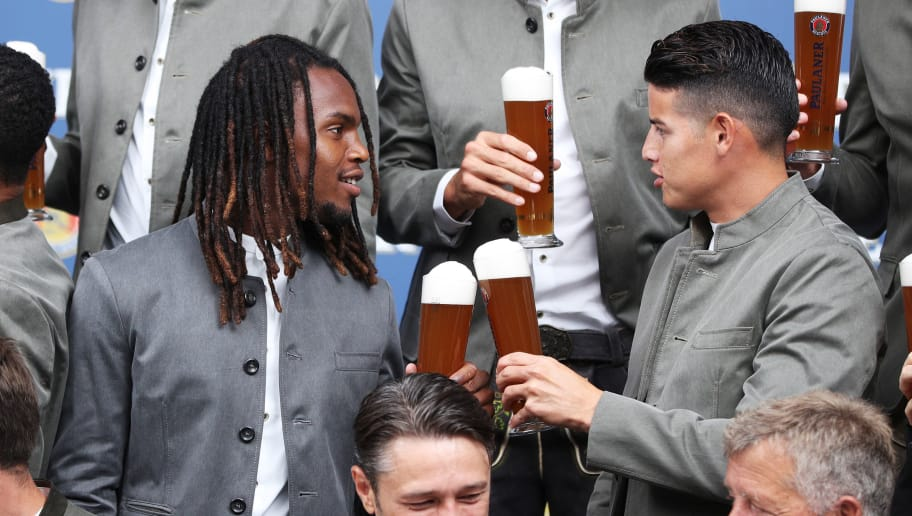 MUNICH, GERMANY - SEPTEMBER 02:  James and Renato Sanches of FC Bayern Muenchen pose for a picture during the FC Bayern Muenchen And Paulaner Photo Session on September 2, 2018 in Munich, Germany.  (Photo by Adam Pretty/Bongarts/Getty Images)