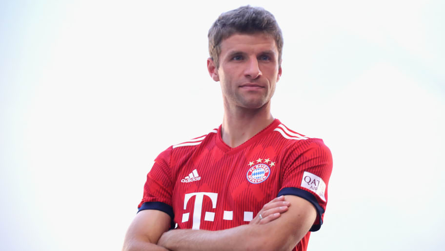 MUNICH, GERMANY - SEPTEMBER 02:  Thomas Mueller  of FC Bayern Muenchen during the FC Bayern Muenchen and Paulaner Photo Session at FGV Schmidtle Studios on September 2, 2018 in Munich, Germany.  The traditional photo shoot featuring FC Bayern Muenchen for the Paulaner brewery who have been a platinum partner with Bayern Muenchen since 2003. Giving some of the stars from Germany's record-breaking football team and their trainer Niko Kovac the opportunity to get in touch with some Bavarian culture by dressing for the shoot in Lederhosen the traditional attire of Bavaria.  (Photo by Alexander Hassenstein/Getty Images for Paulaner)
