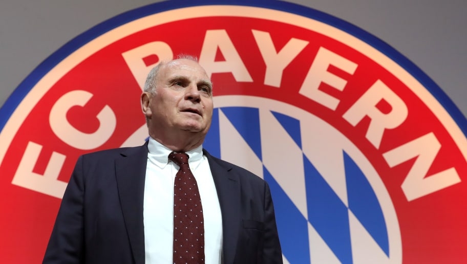 MUNICH, GERMANY - NOVEMBER 30:  President Uli Hoeness looks on during the FC Bayern Muenchen Annual General Assembly at Audi-Dome on November 30, 2018 in Munich, Germany.  (Photo by Alexander Hassenstein/Bongarts/Getty Images)