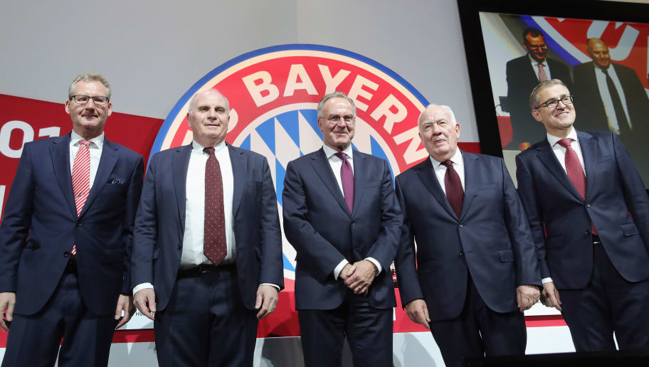 MUNICH, GERMANY - NOVEMBER 30:  Vice President Dieter Mayer, President Uli Hoeness, CEO Karl-Heinz Rummenigge, Vice President Walter Mennekes and CFO Jan-Christian Dreesen (L-R), pose for a picture during the FC Bayern Muenchen Annual General Assembly at Audi-Dome on November 30, 2018 in Munich, Germany.  (Photo by Alexander Hassenstein/Bongarts/Getty Images)