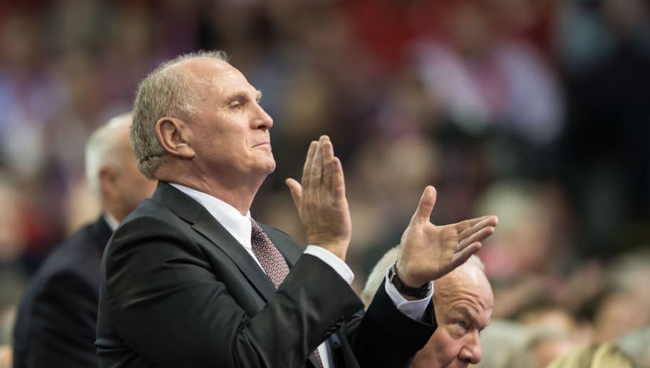 MUNICH, GERMANY - NOVEMBER 25:  president  Ulli Hoeneß     gestures during the annual general assembly of the FC Bayern Muenchen at Audi-Dome on November 25, 2016 in Munich, Germany. (Photo by TF-Images/Getty Images)