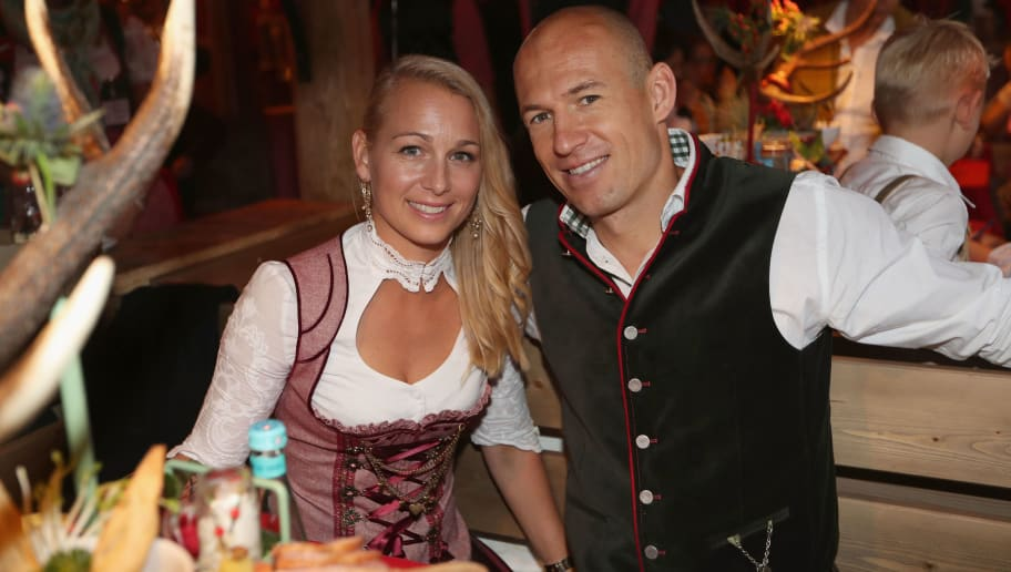 MUNICH, GERMANY - OCTOBER 02:  Arjen Robben of FC Bayern Muenchen and his wife Bernadien Eillert attend the Oktoberfest beer festival at Kaefer Wiesenschaenke tent at Theresienwiese on October 2, 2016 in Munich, Germany.  (Photo by Alexandra Beier/Bongarts/Getty Images)