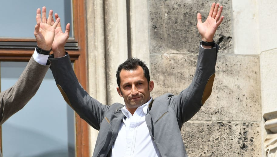 MUNICH, GERMANY - MAY 20: Sporting director Hasan Salihamidzic of Muenchen gestures during the celebration of FC Bayern Muenchen at the Marienplatz on May 20, 2018 in Munich, Germany. (Photo by TF-Images/Getty Images)