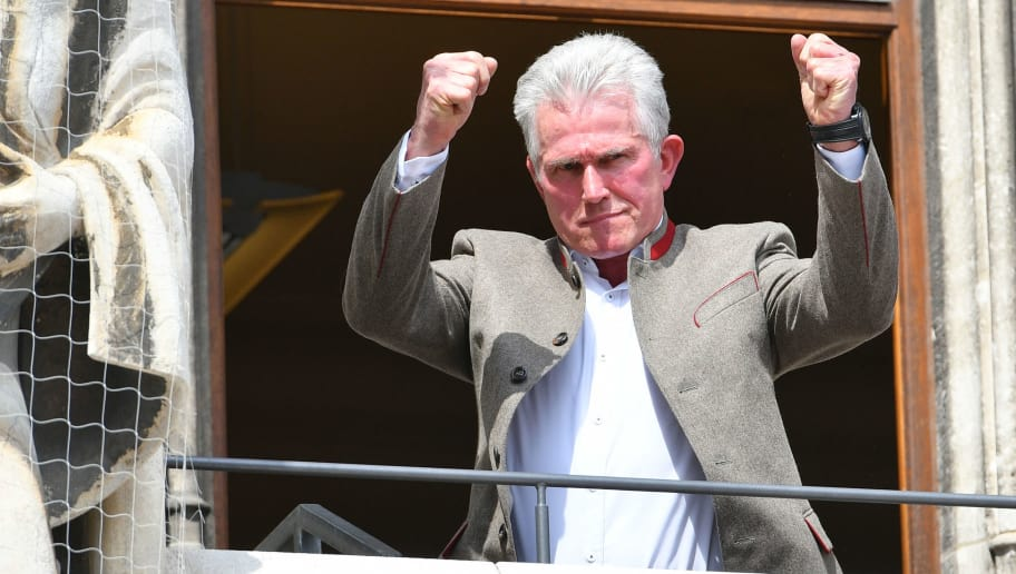 MUNICH, GERMANY - MAY 20: Head coach Jupp Heynckes of Muenchen gestures during the celebration of FC Bayern Muenchen at the Marienplatz on May 20, 2018 in Munich, Germany. (Photo by TF-Images/Getty Images)