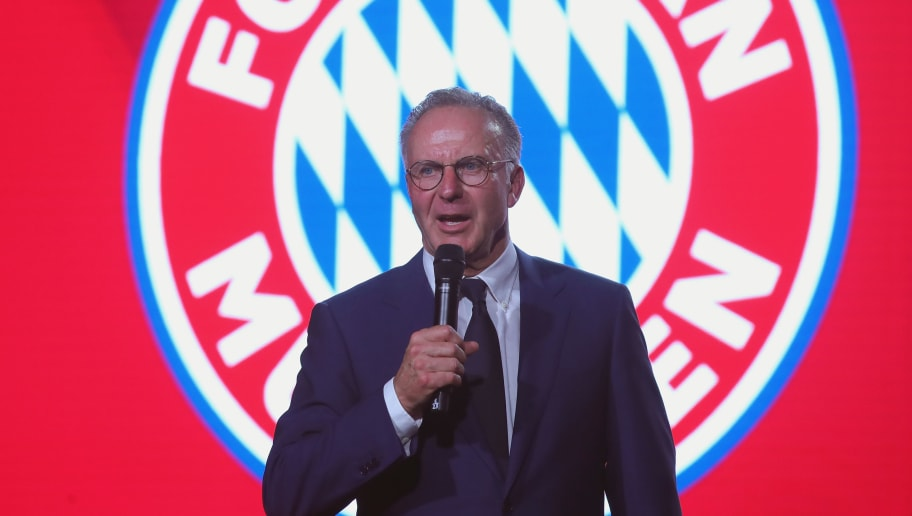 MUNICH, GERMANY - MAY 12:  Karl-Heinz Rummenigge, CEO of FC Bayern Muenchen speaks during the FC Bayern Muenchen Celebration 2018 Party at Nockherberg on May 12, 2018 in Munich, Germany.  (Photo by Alexander Hassenstein/Bongarts/Getty Images)