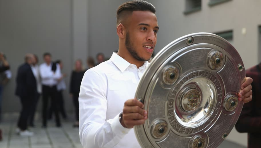 MUNICH, GERMANY - MAY 12:  Corentin Tolisso of FC Bayern Muenchen attends the FC Bayern Muenchen Celebration 2018 Party at Nockherberg on May 12, 2018 in Munich, Germany.  (Photo by Alexander Hassenstein/Bongarts/Getty Images)