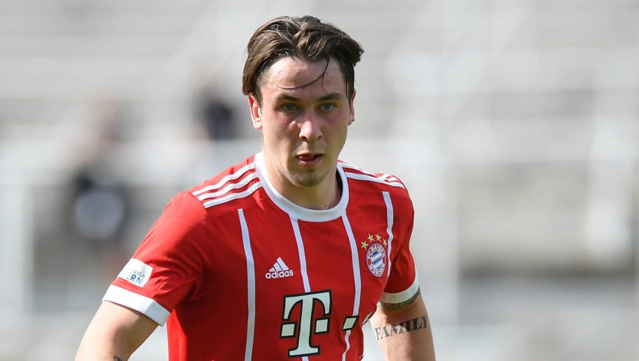 MUNICH, GERMANY - APRIL 29: Adrian Fein of Bayern Muenchen plays the ball during the Regionalliga Bayern match between FC Bayern Muenchen II and TSV 1860 Muenchen at Stadion an der Gruenwalder Strasse on April 29, 2018 in Munich, Germany. (Photo by Sebastian Widmann/Bongarts/Getty Images)