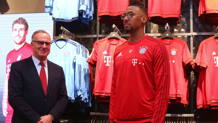 MUNICH, GERMANY - FEBRUARY 16:  Karl-Heinz Rummenigge, CEO of FC Bayern Muenchen attends with his player Jerome Boateng the opening of the new fanshop at Bayern Muenchen's trainings ground Saebener Strasse on February 16, 2016 in Munich, Germany.  (Photo by Alexander Hassenstein/Bongarts/Getty Images)
