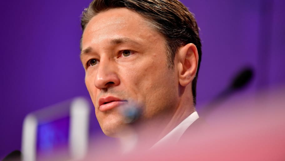 MUNICH, GERMANY - JULY 02:  FC Bayern Muenchen's new head coach Niko Kovac looks on during FC Bayern Muenchen's season opening press conference at Allianz Arena on July 2, 2018 in Munich, Germany.  (Photo by Sebastian Widmann/Bongarts/Getty Images)