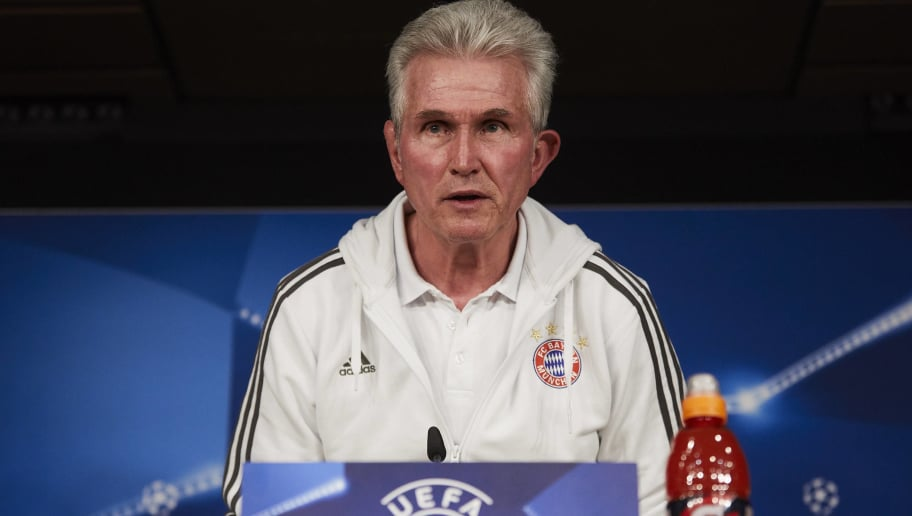 MADRID, SPAIN - APRIL 30: Head coach Jump Heynckes of Bayern Muenchen attends a press conference held ahead of the UEFA Champions League semifinal second league match between Real Madrid CF and FC Bayern Munchen at Estadio Santiago Bernabeu on April 30, 2018 in Madrid, Spain. (Photo by Gonzalo Arroyo Moreno/Bongarts/Getty Images)