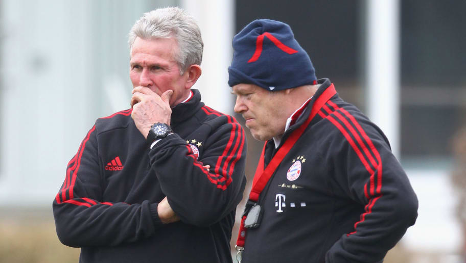 MUNICH, GERMANY - MARCH 04:  Team coach Jupp Heynckes (L) and assistent coach Hermann Gerland of Bayern Muenchen chat during a training session on March 4, 2012 in Munich, Germany.  (Photo by Alexandra Beier/Bongarts/Getty Images)