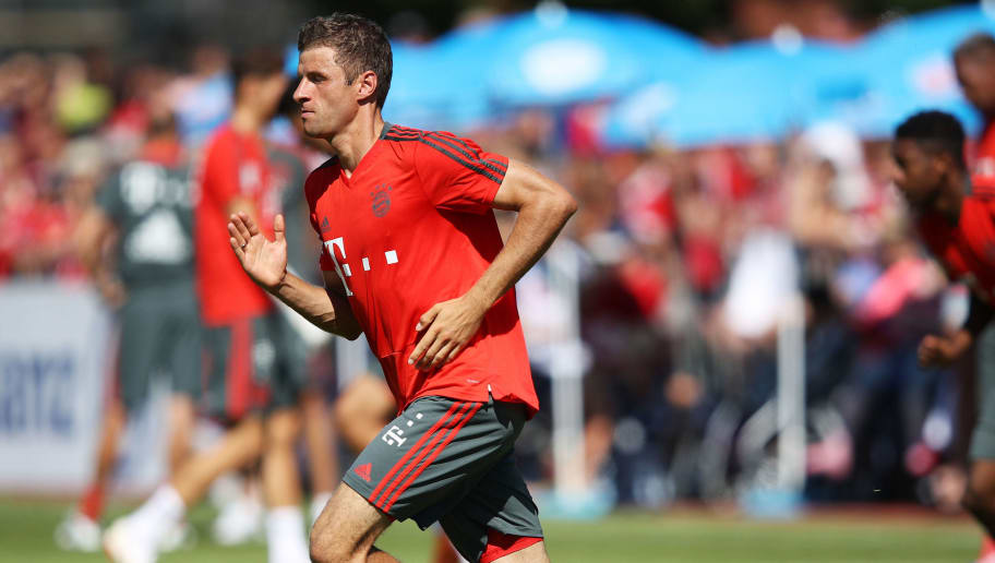 ROTTACH-EGERN, GERMANY - AUGUST 09:  Thomas Mueller of Bayern Munich in action during FC Bayern Muenchen pre season training on August 9, 2018 in Rottach-Egern, Germany.  (Photo by Adam Pretty/Bongarts/Getty Images)