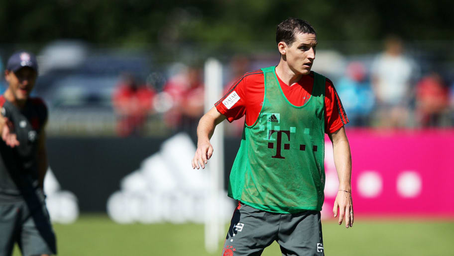 ROTTACH-EGERN, GERMANY - AUGUST 09:  Sebastian Rudy of Bayern Munich in action during FC Bayern Muenchen pre season training on August 9, 2018 in Rottach-Egern, Germany.  (Photo by Adam Pretty/Bongarts/Getty Images)