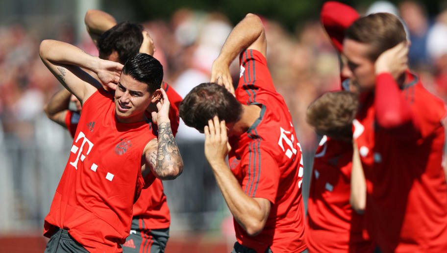 ROTTACH-EGERN, GERMANY - AUGUST 09:  James of Bayern Munich in action during FC Bayern Muenchen pre season training on August 9, 2018 in Rottach-Egern, Germany.  (Photo by Adam Pretty/Bongarts/Getty Images)