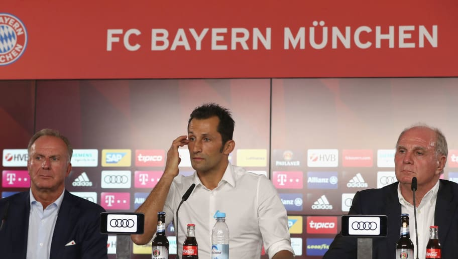 MUNICH, GERMANY - JULY 31:  Hasan Salihamidzic (C), new assigned sports director of FC Bayern Muenchen answers journalists' questions next to FC Bayern Muenchen president Uli Hoeness (R) and CEO Karl-Heinz Rummenigge during a news conference at Saebener Strasse training ground on July 31, 2017 in Munich, Germany.  (Photo by Alexandra Beier/Bongarts/Getty Images)