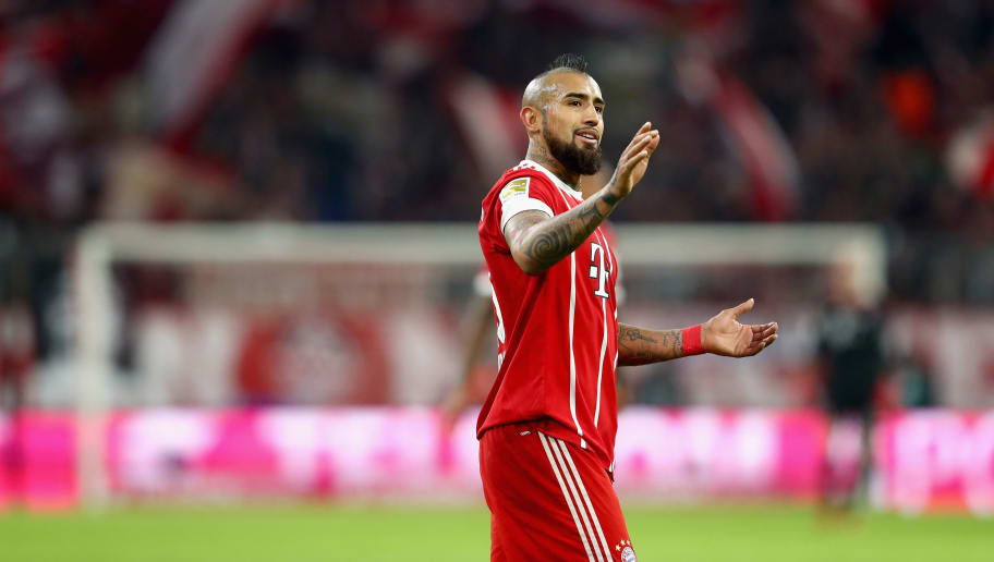 MUNICH, GERMANY - DECEMBER 13:  Arturo Vidal of FC Bayern Muenchen reacts during the Bundesliga match between FC Bayern Muenchen and 1. FC Koeln at Allianz Arena on December 13, 2017 in Munich, Germany.  (Photo by Alexander Hassenstein/Bongarts/Getty Images)