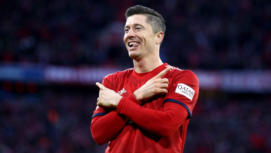 MUNICH, GERMANY - DECEMBER 08:  Robert Lewandowski of Bayer Munich  celebrates after scoring his tam's first goal  during the Bundesliga match between FC Bayern Muenchen and 1. FC Nuernberg at Allianz Arena on December 8, 2018 in Munich, Germany.  (Photo by Alex Grimm/Bongarts/Getty Images)