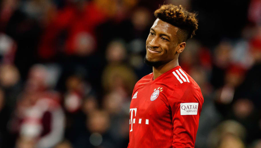 MUNICH, GERMANY - DECEMBER 08: Kingsley Coman of Bayern Muechen looks on during the Bundesliga match between FC Bayern Muenchen and 1. FC Nuernberg at Allianz Arena on December 8, 2018 in Munich, Germany. (Photo by TF-Images/TF-Images via Getty Images)