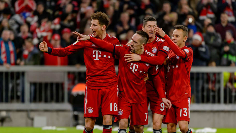 MUNICH, GERMANY - DECEMBER 08: Franck Ribery of Bayern Muechen celebrates after scoring his team's third goal during the Bundesliga match between FC Bayern Muenchen and 1. FC Nuernberg at Allianz Arena on December 8, 2018 in Munich, Germany. (Photo by TF-Images/TF-Images via Getty Images)