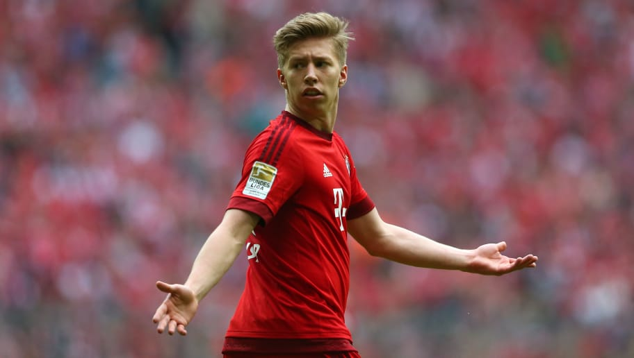 MUNICH, GERMANY - MAY 23:  Mitchell Weiser of Muenchen reacts during the Bundesliga match between FC Bayern Muenchen and 1. FSV Mainz 05 at the Allianz Arena on May 23, 2015 in Munich, Germany.  (Photo by Alexander Hassenstein/Bongarts/Getty Images)