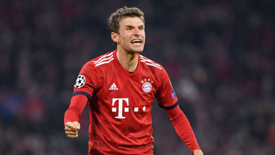 MUNICH, GERMANY - NOVEMBER 07: Thomas Mueller of Bayern Munich celebrates his sides second goal during the UEFA Champions League Group E match of the  between FC Bayern Muenchen and AEK Athens at Fussball Arena Muenchen on November 7, 2018 in Munich, Germany.  (Photo by Matthias Hangst/Bongarts/Getty Images)