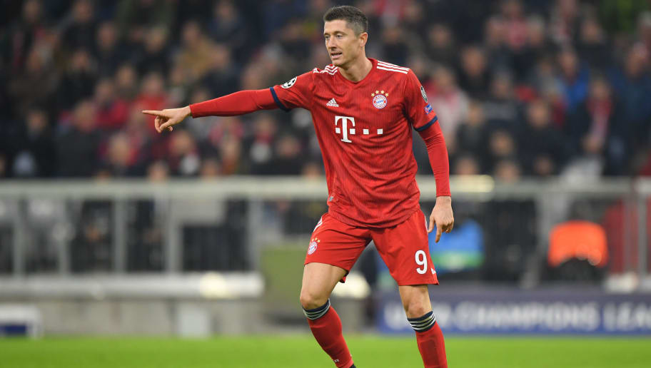 MUNICH, GERMANY - NOVEMBER 07: Robert Lewandowski of Bayern Muenchen gestures during the Group E match of the UEFA Champions League between FC Bayern Muenchen and AEK Athens at Allianz Arena on November 7, 2018 in Munich, Germany. (Photo by Sebastian Widmann/Bongarts/Getty Images)