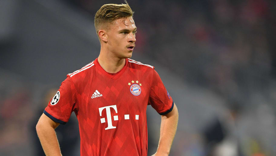 MUNICH, GERMANY - NOVEMBER 07: Joshua Kimmich of Bayern Muenchen plays the ball during the Group E match of the UEFA Champions League between FC Bayern Muenchen and AEK Athens at Allianz Arena on November 7, 2018 in Munich, Germany. (Photo by Sebastian Widmann/Bongarts/Getty Images)