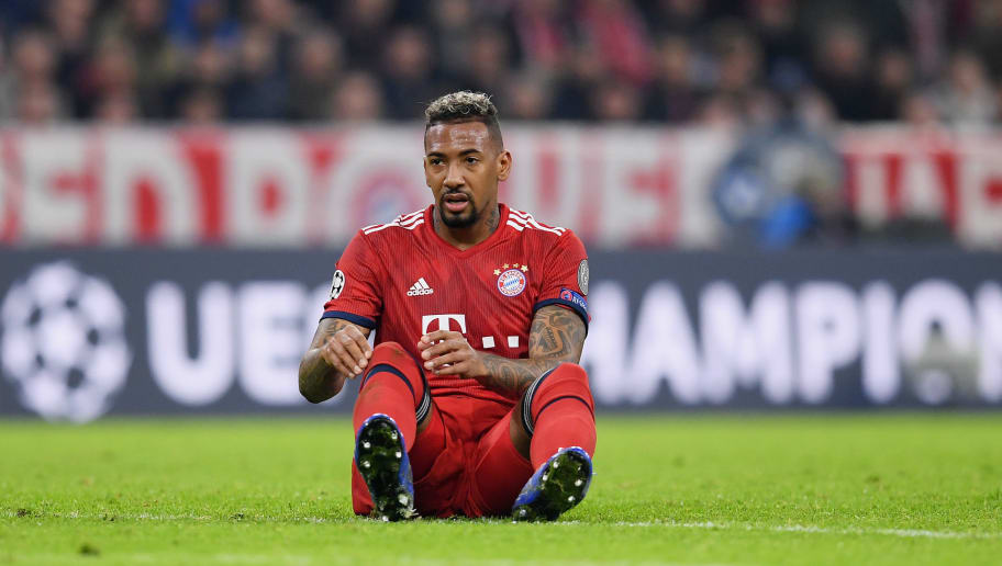 MUNICH, GERMANY - NOVEMBER 07: Jerome Boateng of FC Bayern Muenchen reacts during the Group E match of the UEFA Champions League between FC Bayern Muenchen and AEK Athens at Allianz Arena on November 07, 2018 in Munich, Germany. (Photo by Matthias Hangst/Bongarts/Getty Images )