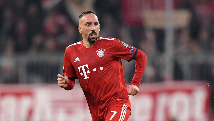 MUNICH, GERMANY - NOVEMBER 07: Franck Ribery of FC Bayern Muenchen runs with the ball during the Group E match of the UEFA Champions League between FC Bayern Muenchen and AEK Athens at Allianz Arena on November 07, 2018 in Munich, Germany. (Photo by Matthias Hangst/Bongarts/Getty Images )