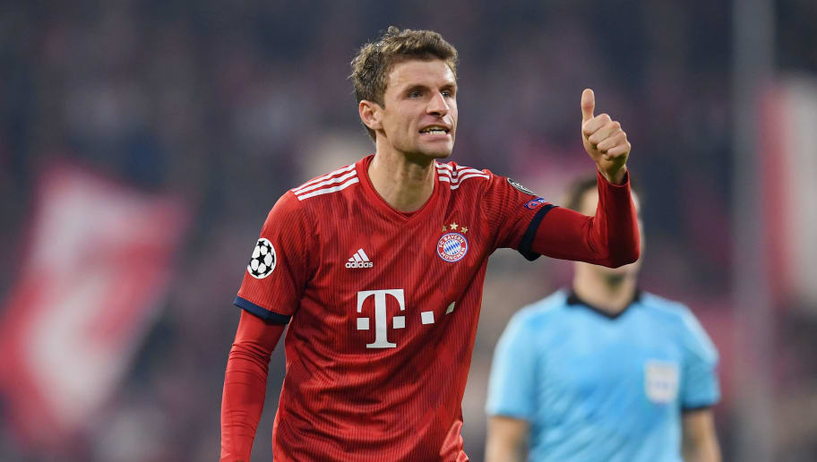 MUNICH, GERMANY - NOVEMBER 07: Thomas Mueller of FC Bayern Muenchen gestures during the Group E match of the UEFA Champions League between FC Bayern Muenchen and AEK Athens at Allianz Arena on November 07, 2018 in Munich, Germany. (Photo by Matthias Hangst/Bongarts/Getty Images )