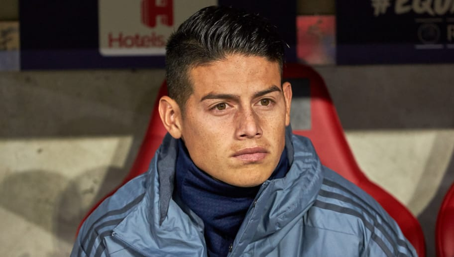 DORTMUND, GERMANY - OCTOBER 03: James Rodriguez of Bayern Muenchen  looks on ,  during the Group A match of the UEFA Champions League between Borussia Dortmund and AS Monaco at Signal Iduna Park on October 3, 2018 in Dortmund, Germany. (Photo by TF-Images/TF-Images via Getty Images)