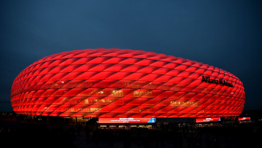 MUNICH, GERMANY - OCTOBER 02:  General view outside the stadium prior to the Group E match of the UEFA Champions League between FC Bayern Muenchen and Ajax at Allianz Arena on October 2, 2018 in Munich, Germany.  (Photo by Sebastian Widmann/Bongarts/Getty Images)