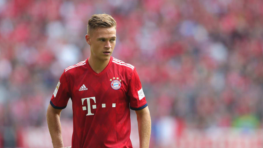 MUNICH, GERMANY - SEPTEMBER 15:  Joshua Kimmich of Muenchen looks on during the Bundesliga match between FC Bayern Muenchen and Bayer 04 Leverkusen at Allianz Arena on September 15, 2018 in Munich, Germany.  (Photo by Alexander Hassenstein/Bongarts/Getty Images)
