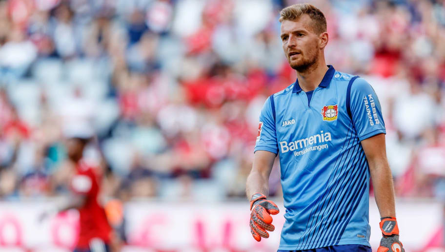 MUNICH, GERMANY - SEPTEMBER 15: Goalkeeper Lukas Hradecky of Leverkusen looks on during the Bundesliga match between FC Bayern Muenchen and Bayer 04 Leverkusen on September 15, 2018 in Munich, Germany. (Photo by TF-Images/Getty Images)
