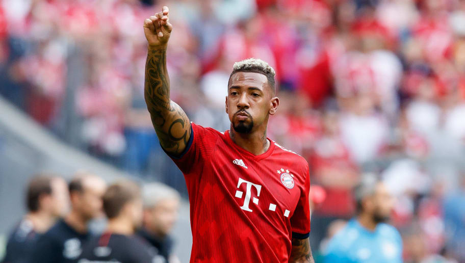 MUNICH, GERMANY - SEPTEMBER 15: Jerome Boateng of Bayern Muenchen gestures during the Bundesliga match between FC Bayern Muenchen and Bayer 04 Leverkusen on September 15, 2018 in Munich, Germany. (Photo by TF-Images/Getty Images)