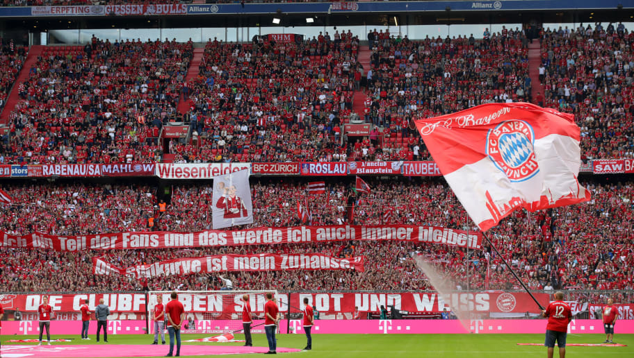 MUNICH, GERMANY - SEPTEMBER 15: Fans show their support during the Bundesliga match between FC Bayern Muenchen and Bayer 04 Leverkusen at Allianz Arena on September 15, 2018 in Munich, Germany. (Photo by Alexander Hassenstein/Bongarts/Getty Images)
