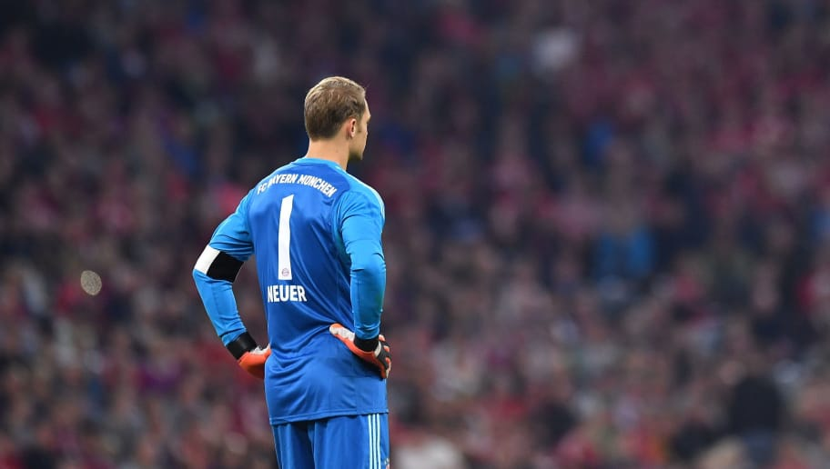 MUNICH, GERMANY - OCTOBER 06: Goalkeeper Manuel Neuer of Bayern Muenchen looks on during the Bundesliga match between FC Bayern Muenchen and Borussia Moenchengladbach at Allianz Arena on October 6, 2018 in Munich, Germany. (Photo by Sebastian Widmann/Bongarts/Getty Images)