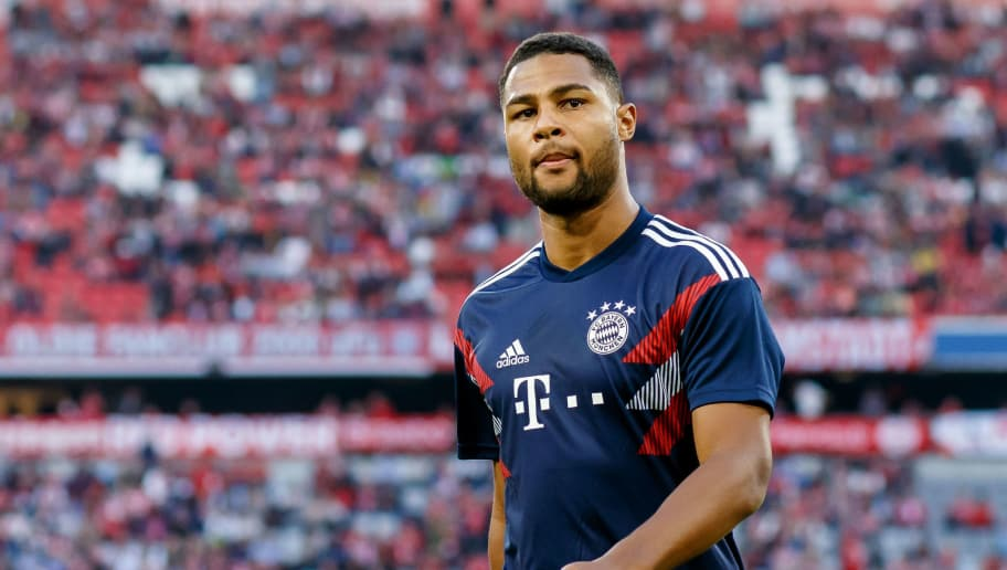 MUNICH, GERMANY - OCTOBER 06: Serge Gnabry of Bayern Muenchen looks on prior to the Bundesliga match between FC Bayern Muenchen and Borussia Moenchengladbach at Allianz Arena on October 6, 2018 in Munich, Germany. (Photo by TF-Images/Getty Images)
