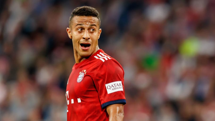 MUNICH, GERMANY - OCTOBER 06: Thiago Alcantara of Bayern Muenchen looks on during the Bundesliga match between FC Bayern Muenchen and Borussia Moenchengladbach at Allianz Arena on October 6, 2018 in Munich, Germany. (Photo by TF-Images/Getty Images)