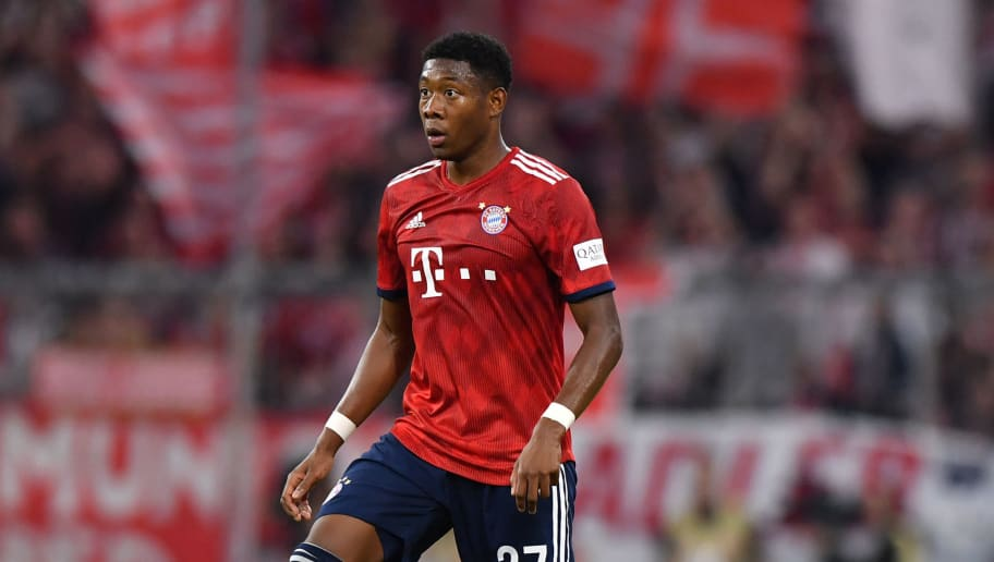 MUNICH, GERMANY - OCTOBER 06: David Alaba of Bayern Muenchen plays the ball during the Bundesliga match between FC Bayern Muenchen and Borussia Moenchengladbach at Allianz Arena on October 6, 2018 in Munich, Germany. (Photo by Sebastian Widmann/Bongarts/Getty Images)