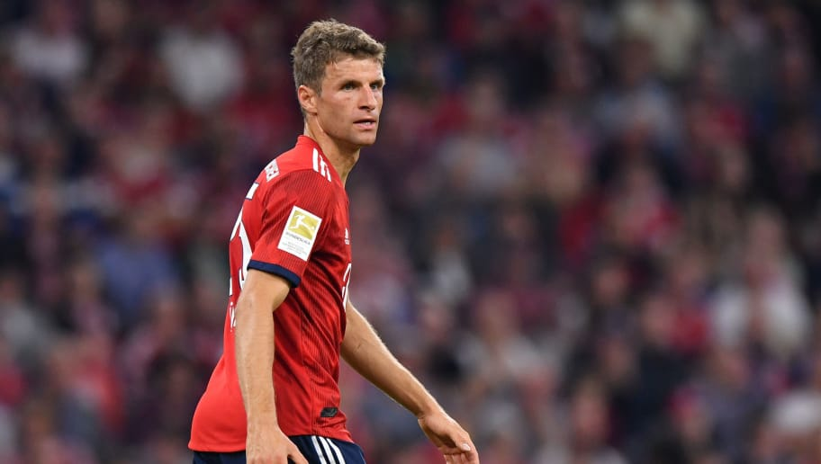MUNICH, GERMANY - OCTOBER 06: Thomas Mueller of Bayern Muenchen looks on during the Bundesliga match between FC Bayern Muenchen and Borussia Moenchengladbach at Allianz Arena on October 6, 2018 in Munich, Germany. (Photo by Sebastian Widmann/Bongarts/Getty Images)